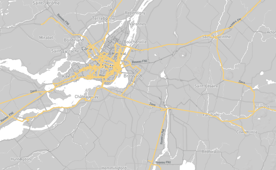 montreal zayo network map