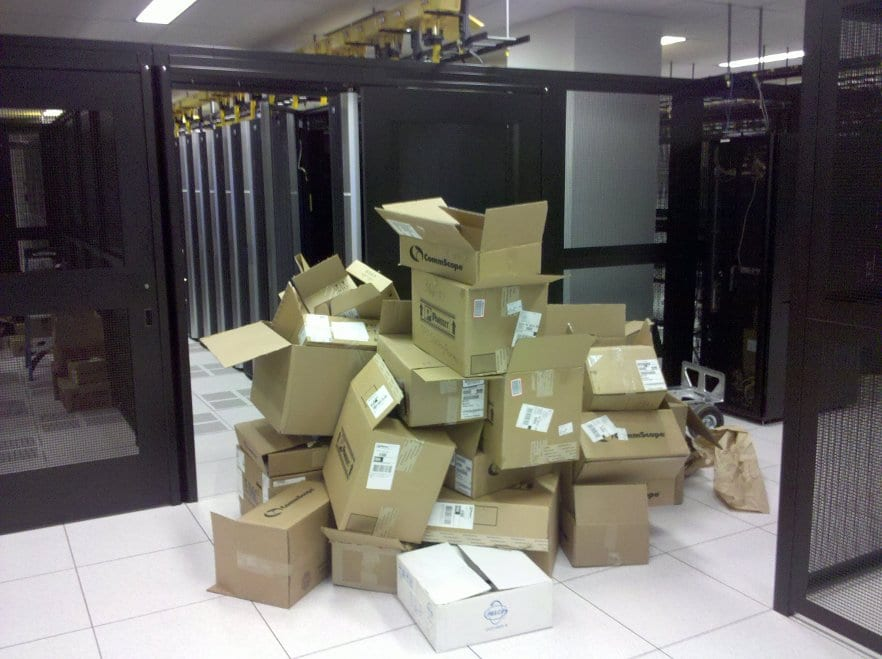 cardboard in data center